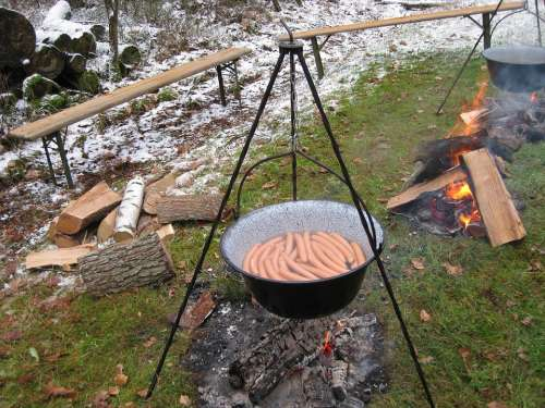 Sausage Boiler Fireplace Outdoor Nature Camping