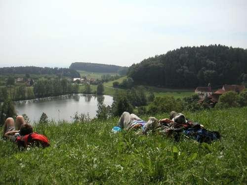 Schleinsee Tired Wanderer Rest Concerns Grass