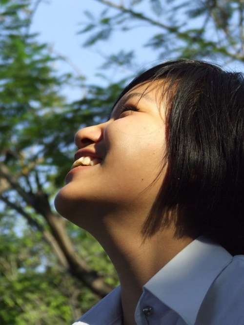 School Girl Thai Asian Laughing Happy Posing