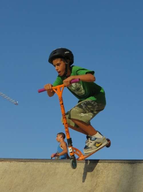 Scooter Kid Stunt Jumping Half Pipe Jump Sport