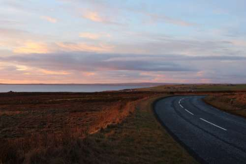 Scotland Road Landscape Sunset Wide Ocean Sea