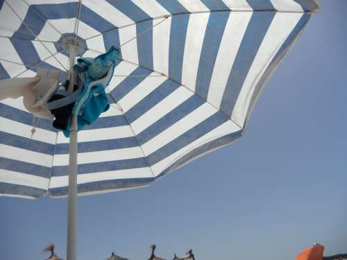Screen Parasol Striped Beach Sea Vacations Sand