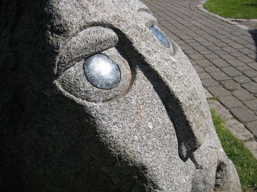 Sculpture Face Stone View Art