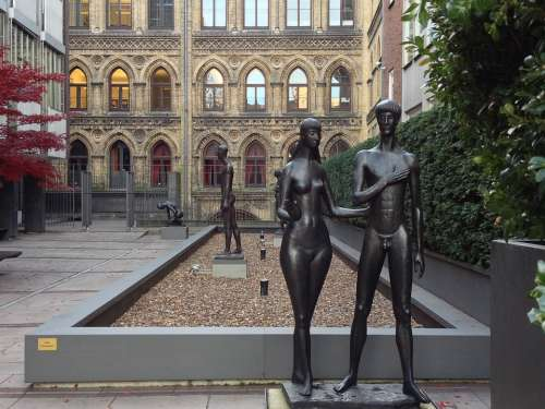 Sculpture Adam And Eve Facade Bremen