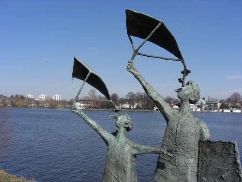 Sculpture Bank Blue Dragon Rising Bronze Statue