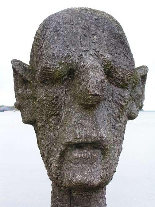Sculpture Art Wood Weathered Man Head Wieck Darß