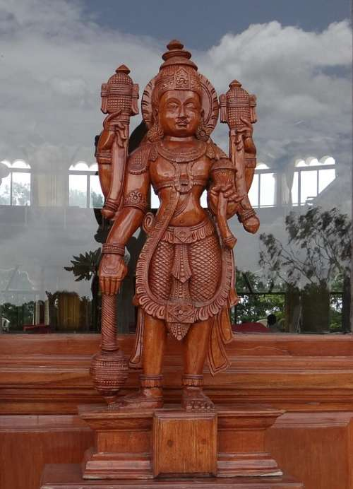 Sculpture Wooden God Religion Hinduism India