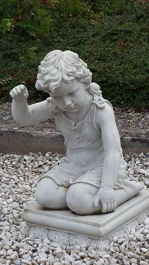 Sculpture Child Cemetery Statue Boy Kneeling