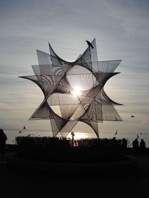 Sculpture Ouchy Lausanne Metal Sun Lake Geneva