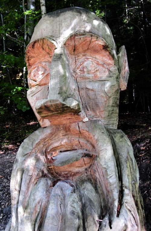 Sculpture Wood Carving Wood Carving Face Handmade