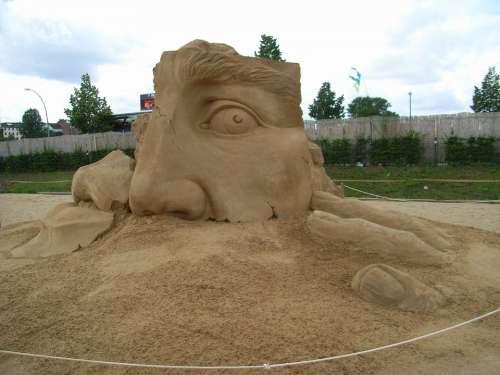 Sculpture Sand Sand Sculpture Face Berlin Artwork