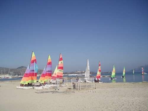 Sea Sail Boats Colorful Water Blue Beach Sailing