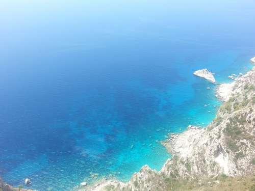 Sea Turquoise Rock Cliff Rocky Coast Coast
