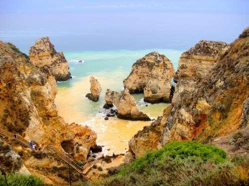 Sea Coast Algarve Bay Atlantic Rock Cliff Nature