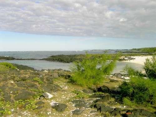 Sea Rock Beach Mauritius Clouds