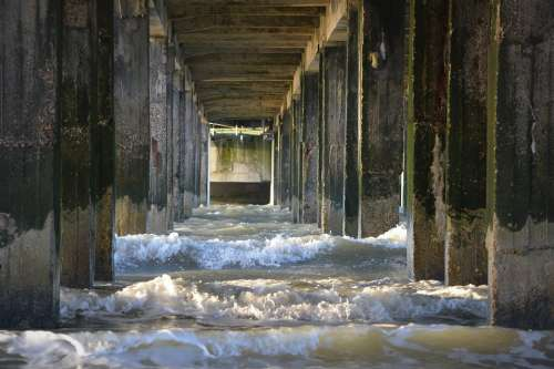 Sea Waves Columns Water