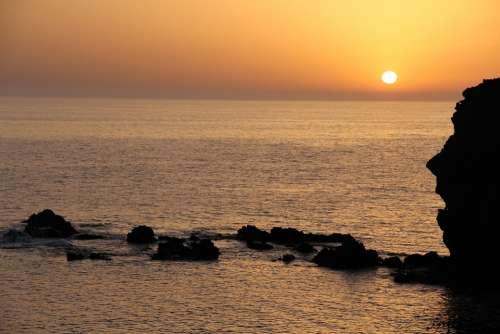 Sea Mediterranean Sun Water Light Purple Sky