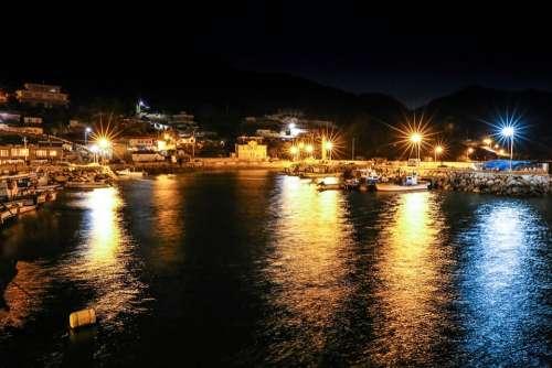 Sea Night View Background