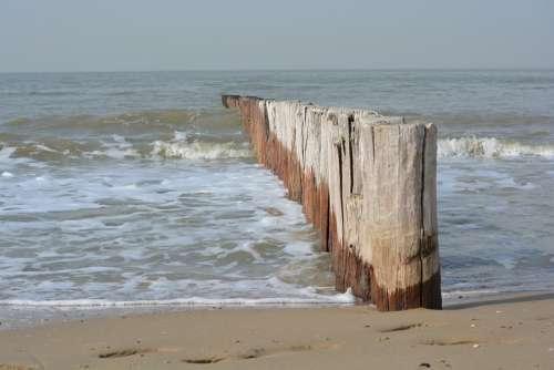 Sea Poles Nature Breakwater Cadzand