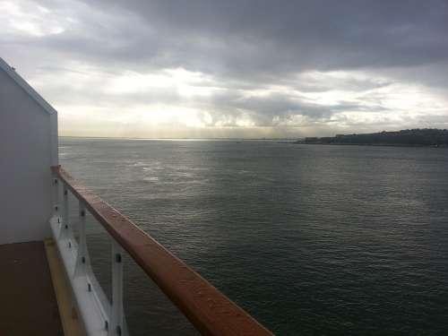 Sea Ship Cloudscape Cruise Ship On Lake View