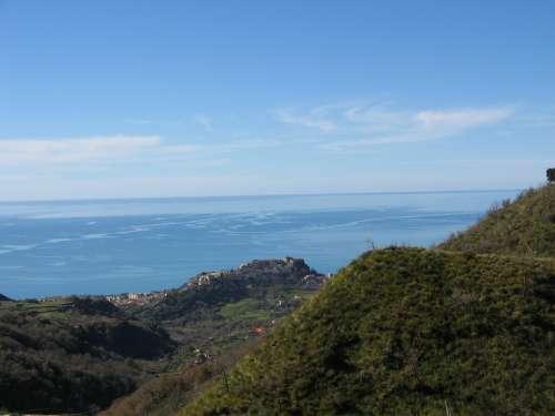Sea Sky Belvedere Blue Summer Hills Landscape