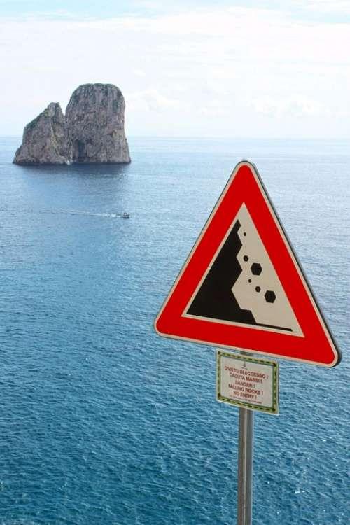 Sea Capri Faraglioni Italy Signage Falling Rocks