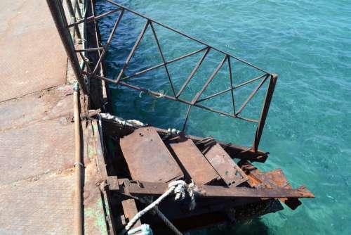 Sea Pier Stairs Rust Metal Broken Dangerous