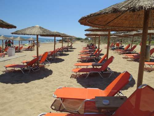 Sea Beach Sun Loungers Deck Chairs Rest Holiday