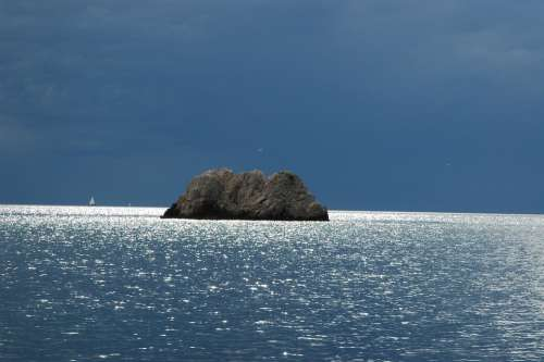 Sea Island Rock Island Rock Clouds Weather Mood