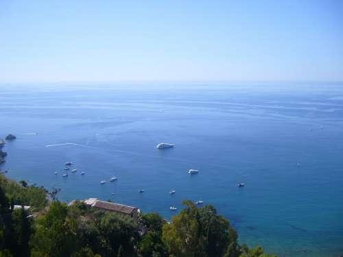 Sea Nature Landscape Summer Taormina Horizon