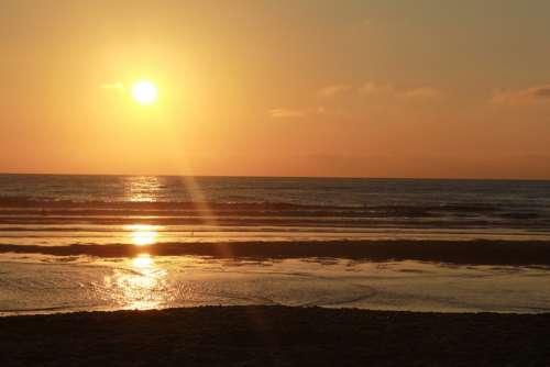 Sea Sun Beach Sunset Evening Sky Sun And Sea