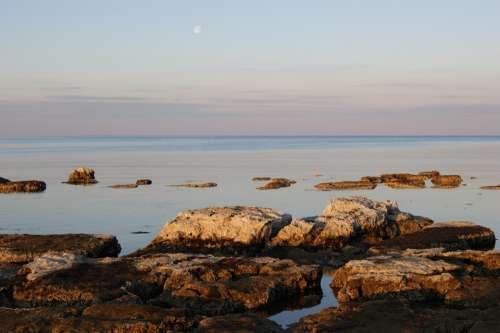 Sea Coast Rock Stone Moon Sunrise Water Europe