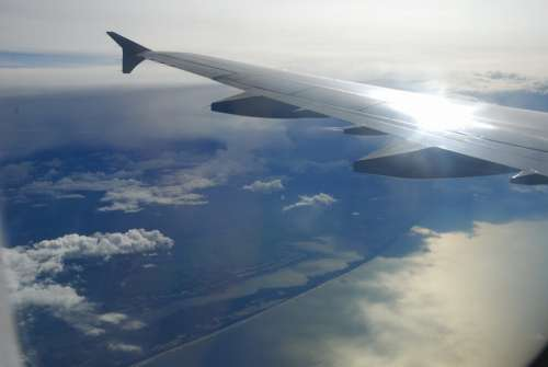 Sea Bank Airplane Sky Reflection Airplanes Clouds