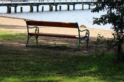 Seat Bank Lake Waters Bench Out Sit Rest Nature