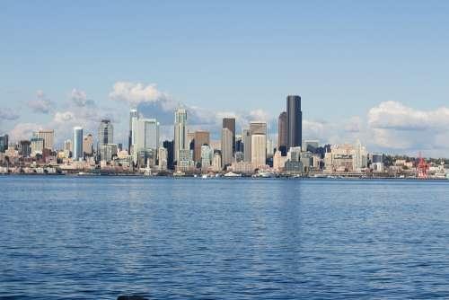 Seattle Skyline Cityline Washington Sound Bay