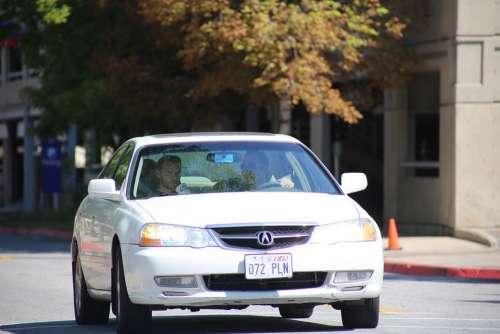 Sedan Car White Driving Traffic America Usa