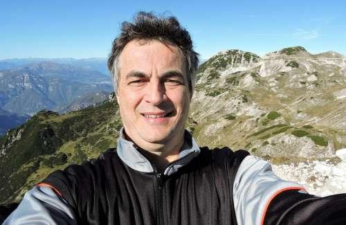 Selfie Man Mountain Small Dolomites Alps