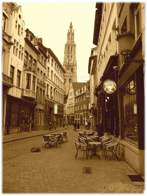Sepia Old Cobble Stone Street Antwerp Belgium