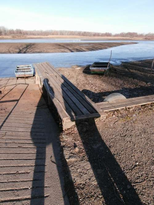 Shadow Light And Shadow Pier Plot Water Boat Lake