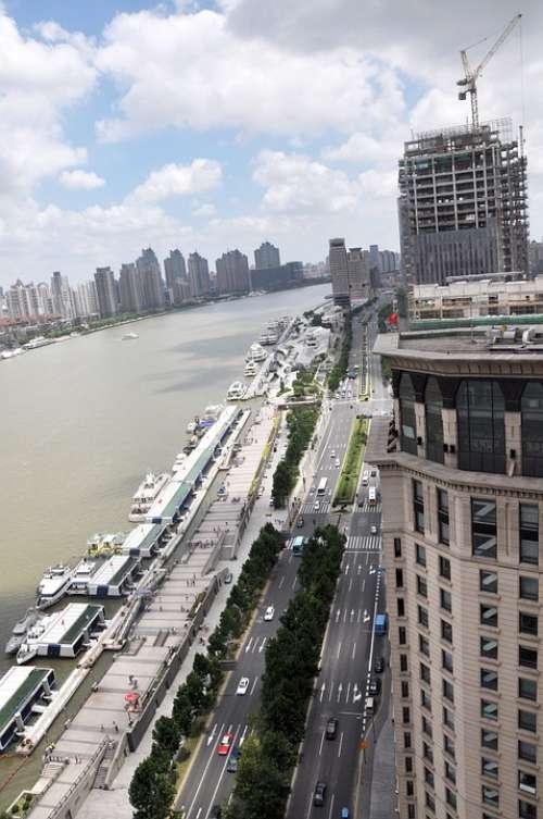 Shanghai Sky Building Street The Bund The Scenery
