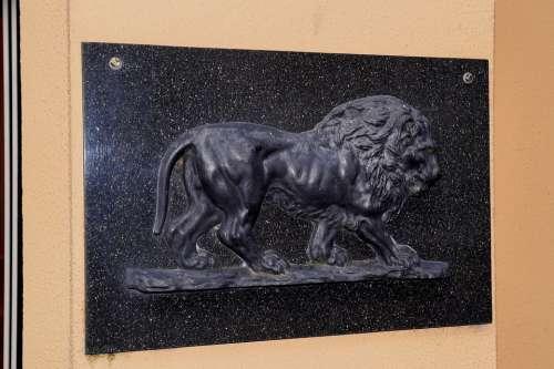 Shield Stone Lion Stone Lion Hauszierde