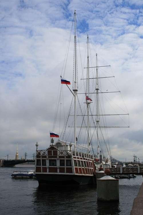 Ship Sailing Masts Flags Russian River Water