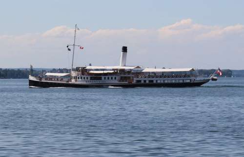 Ship Steamboat Paddle Steamer Exit Nostalgic