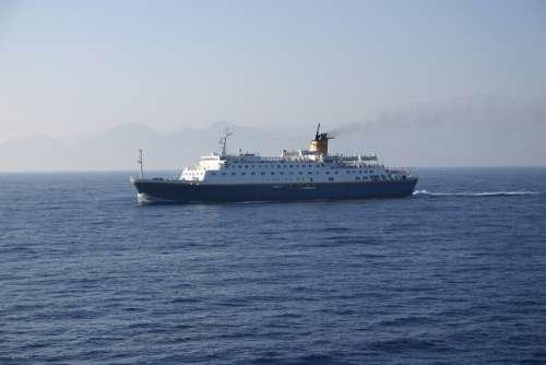 Ship Crete Greece Holidays Holiday Water