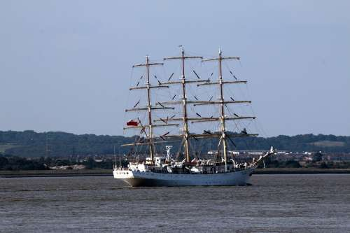 Ship Sails Masts Tall Sea Ocean Vessel Nautical
