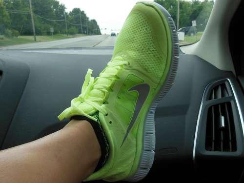 Shoe Nike Foot Green Swoosh