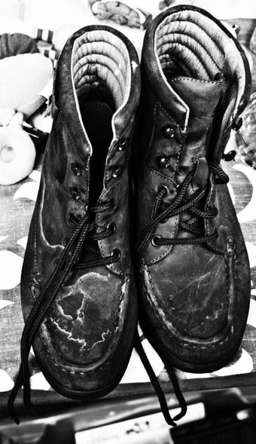 Shoes Shoe Boots Old Footwear Black And White