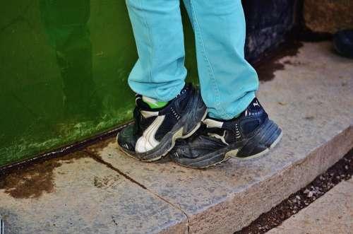 Shoes Feet Shoelaces Kid Children Boy