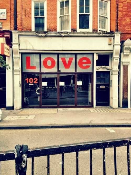 Shop Love Sign Message Street Road Urban London