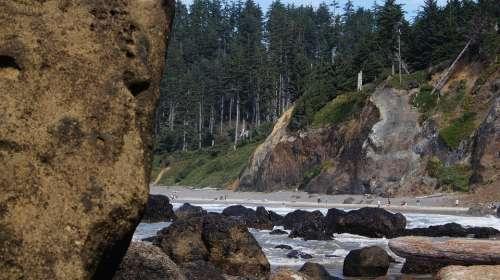 Shore Beach Rocky Rocks Coast Indian Beach